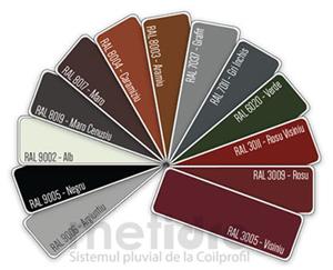 Gama de culori disponibila pentru sistemul de jgheaburi si burlane de la Coilprofil